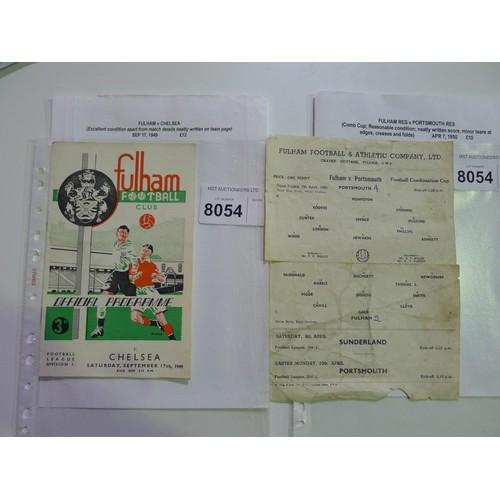 8054 - 2 Fulham football programmes comprising Fulham v Chelsea September 17th 1949 and Fulham Reserves v P...