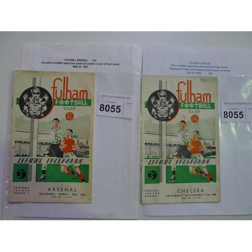 8055 - 2 Fulham football programmes comprising Fulham v Chelsea September 17th 1949 and Fulham v Arsenal Ma...