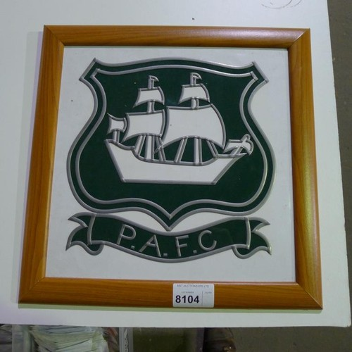 8104 - 1 framed Plymouth Argyle logo, overall size approx 48cm x 48cm. Please see photograph for more detai...