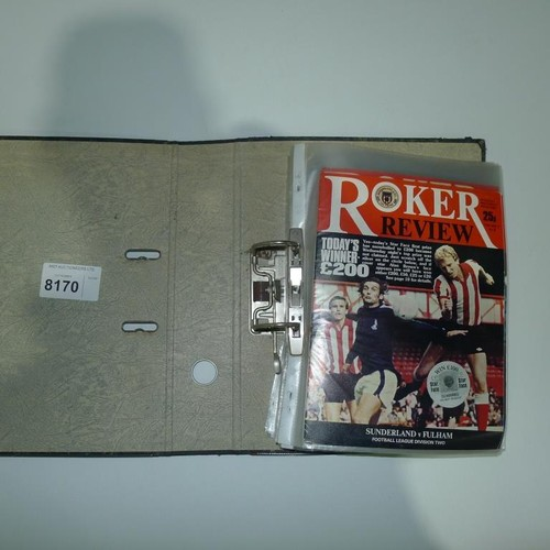 8170 - 1 pallet containing a large quantity of various football programmes and 1 black lever arch file cont...