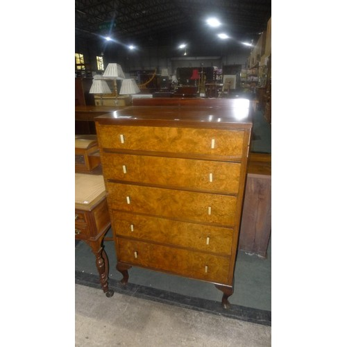 3667 - (H1) mahogany bedroom chest of 5 drawers approx 76 cm wide