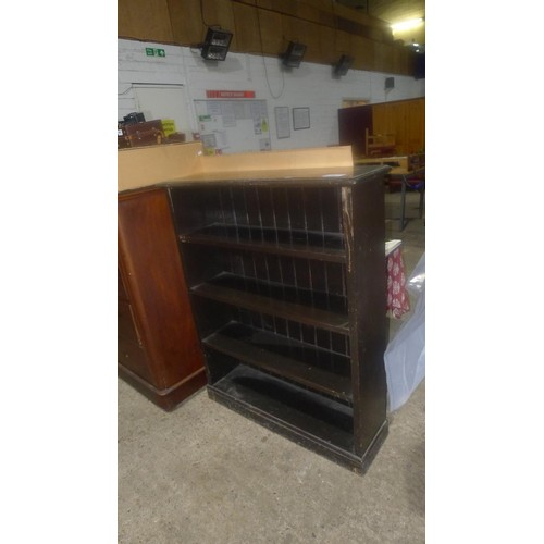 3669 - (H1) a dark wood open fronted bookcase with 4 shelves approximately 94 cm wide
