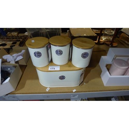175 - A Typhoon bread bin and 3 Typhoon kitchen storage tins (tea, coffee and sugar)