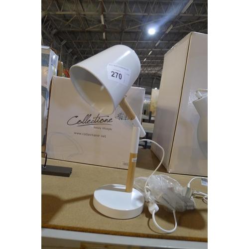 270 - 1 white metal / wood table lamp