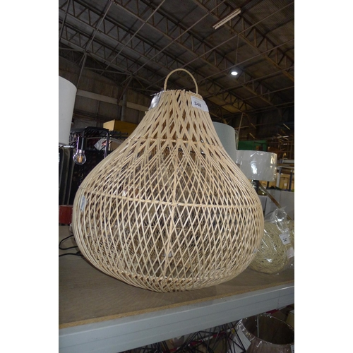 348 - 1 large pear shaped wicker light shade approx 67cm high