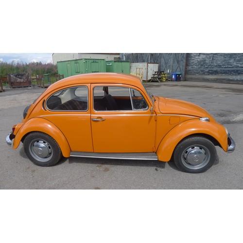 765 - VW Beetle 1300, Reg UEA 79M, 1st registered 20/08/1973, 1288cc petrol, Mileage 33820' Orange, MoT & ...