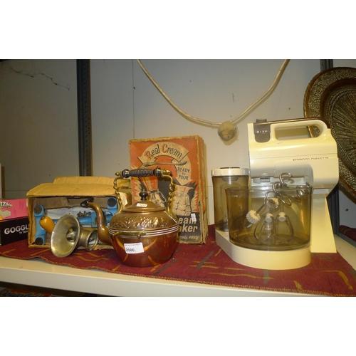 2086 - Vintage Kenwood chefette, vintage cream maker, a vintage kitchen mincer and a copper kettle