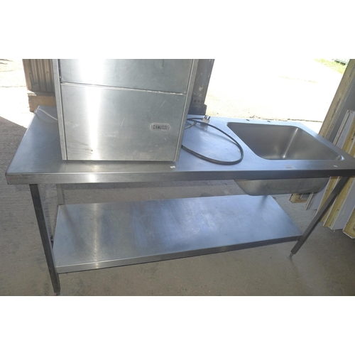 3002 - A commercial stainless steel deep single sink unit with shelf beneath approx 180x65cm