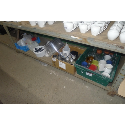 3035 - A quantity of various catering related items including salt and pepper pots, mugs, candle holders et...