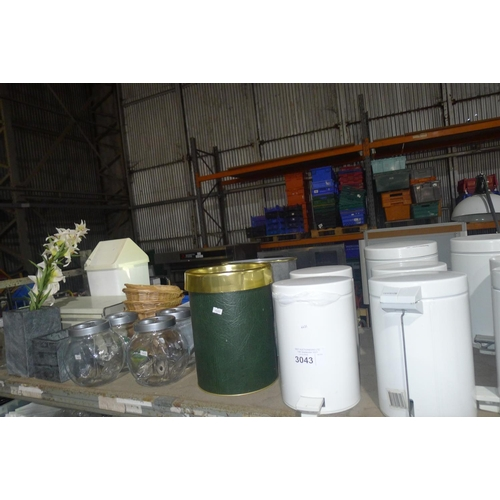3043 - A quantity of various catering related items including sweet jars, bins, stone pots etc. Contents of...