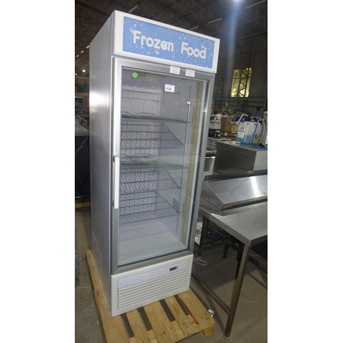 3128 - A commercial upright, tall display freezer no make or model visible, no feet - 240v trade