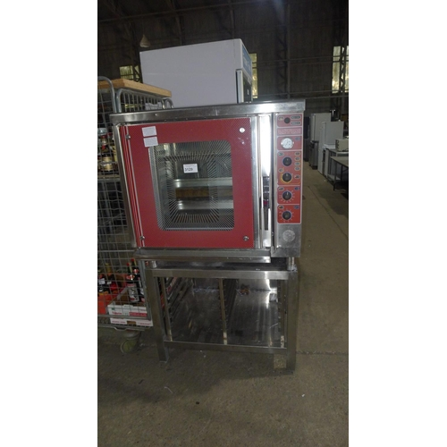 3129 - A Lotus combi oven type E2 MDA6EGRW00IPX1 comes with stand with built in twin tray rack - 230v trade