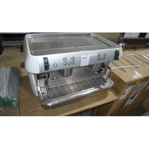 3147 - A commercial 2 group coffee machine by Imberital, features 2 steam wands,model 2010 - serial 22286 -...