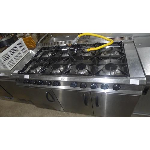 3167 - A gas fired 8 burner range by Moorwood Vulcan with a single door oven & 2 door oven beneath - trade