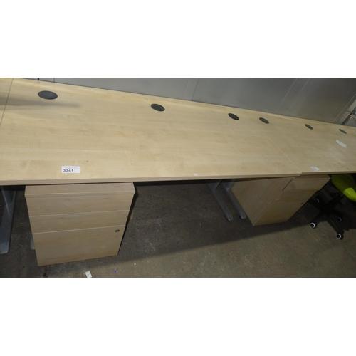 3341 - 1 light wood effect office table approx 160cm x 80cm and 1 light wood effect under worktop pedestal