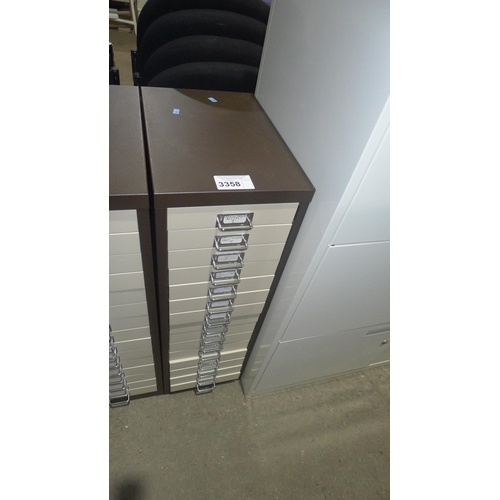 3358 - A coffee and cream multi drawer cabinet - 15 drawers