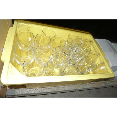 3055 - A large quantity of drinking glasses including wine, tumblers etc. Contents of 2 shelves
