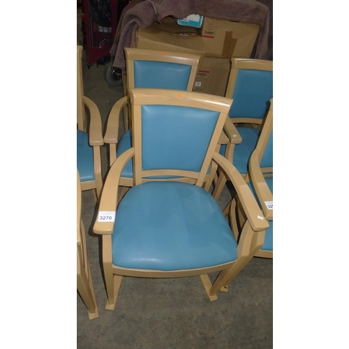 3270 - 2 turquoise wipe clean upholstered skate/sledge dining arm chairs