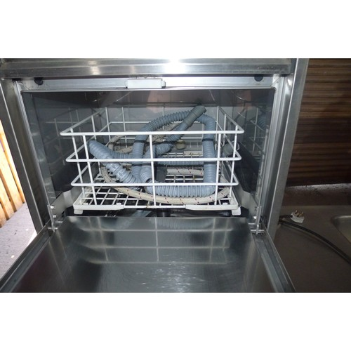 3003 - A countertop commercial stainless steel glasswasher by Zanussi approx 46x47x69cm comes with basket -...