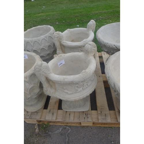 3384 - 2 x large 2 piece concrete planters with handles