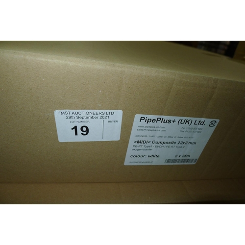 19 - 1 box containing 2 x 25m rolls of white plastic barrier pipe by Pipeplus type Midi Composite 22mm x ...