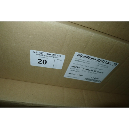 20 - 1 box containing 2 x 25m rolls of white plastic barrier pipe by Pipeplus type Midi Composite 22mm x ...