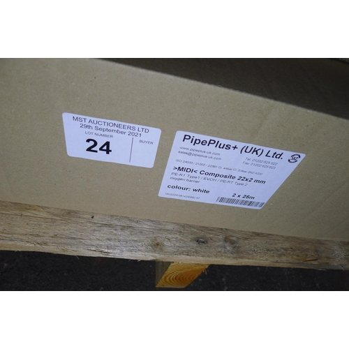24 - 1 box containing 2 x 25m rolls of white plastic barrier pipe by Pipeplus type Midi Composite 22mm x ...