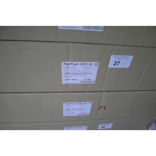 27 - 2 boxes each containing 2 x 25m rolls of white plastic barrier pipe by Pipeplus type Midi Composite ...