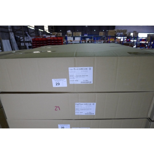 29 - 2 boxes each containing 2 x 25m rolls of white plastic barrier pipe by Pipeplus type Midi Composite ...