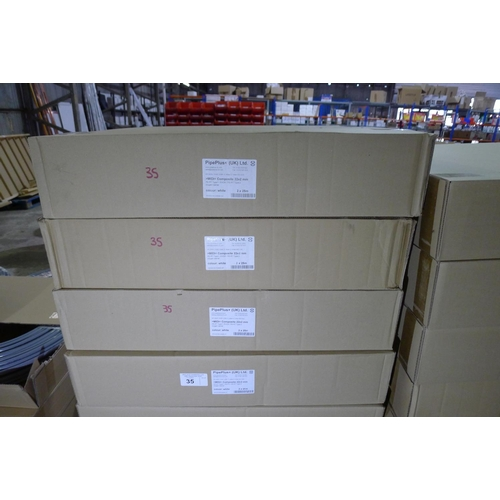 35 - 4 boxes each containing 2 x 25m rolls of white plastic barrier pipe by Pipeplus type Midi Composite ...