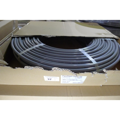 37 - 1 x 150m roll of grey plastic barrier pipe by Pipeplus type Midi Composite 15mm x 1.7mm