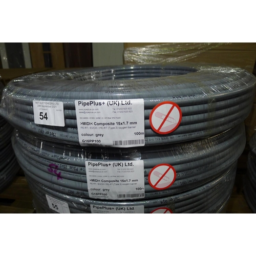 54 - 2 x 100m rolls of grey plastic barrier pipe by Pipeplus type Midi Composite 15 mm x 1.7mm