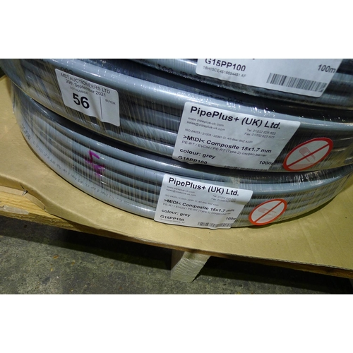 56 - 2 x 100m rolls of grey plastic barrier pipe by Pipeplus type Midi Composite 15mm x 1.7mm