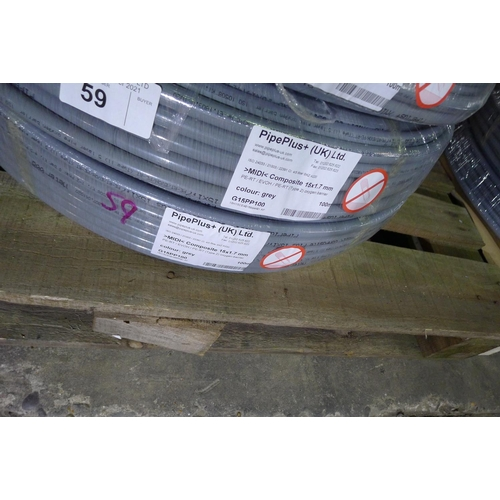 59 - 2 x 100m rolls of grey plastic barrier pipe by Pipeplus type Midi Composite 15mm x 1.7mm