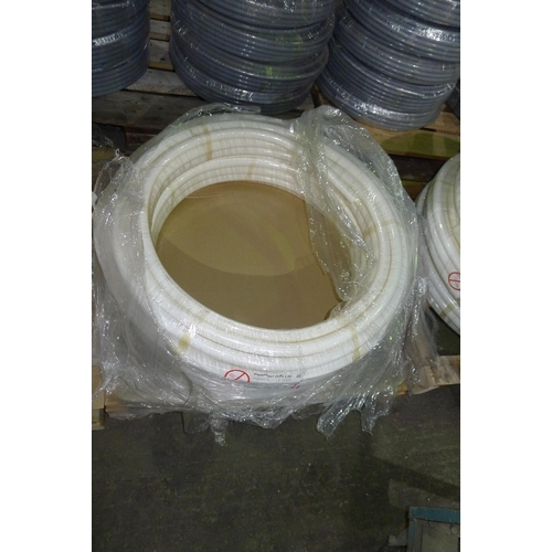 4 - 2 x 25m rolls of white plastic barrier pipe by Pipeplus type Midi Composite 28mm x 2.7mm
