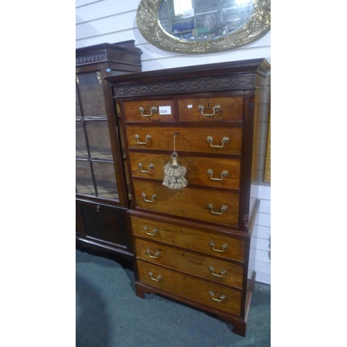 2324 - A Georgian style (19th Century and later)  mahogany compact two part chest on chest with canted corn...