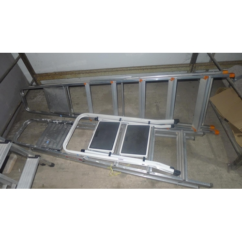 1084 - 3 various step ladders (2 aluminium and 1 white painted)