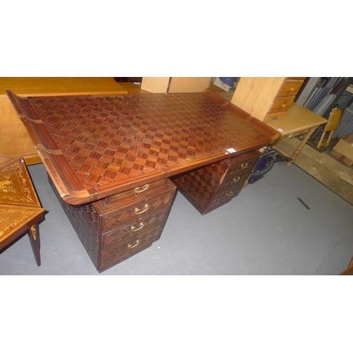 1165 - An Oriental style twin pedestal desk approx 170 x 89cm.