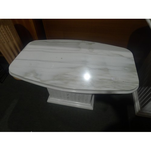 1220 - A polished white marble table by Stone International / Portman Designs London type Piano Calacatta a...
