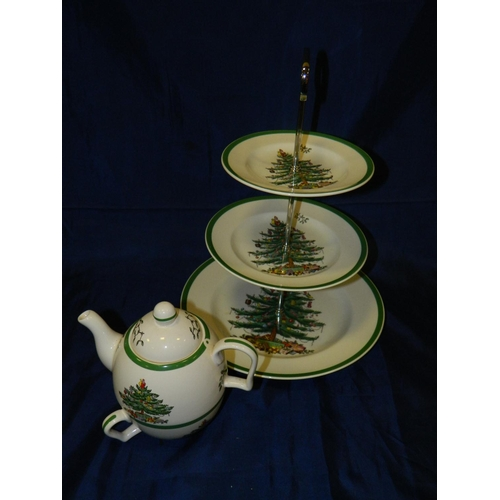 1 - Spode christmas cake stand and a teapot and cup set...