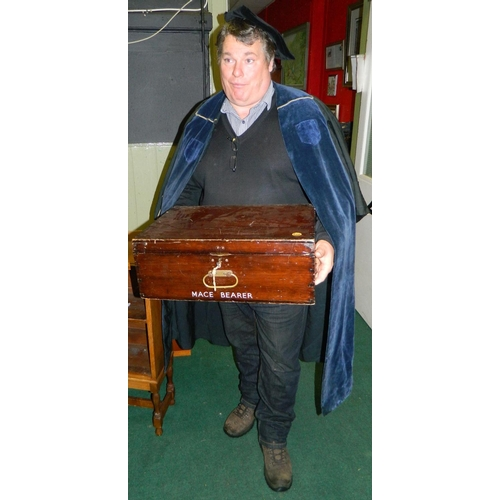 10 - Wooden gown box marked 'Mace Bearer' (Edinburgh University)with full length cermonial gown and velve...