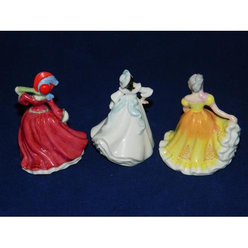 104 - 3 mini Royal Doulton figurines 'Ninette' M206, 'Autumn Breeze' M241, 'Maragaret' M205...