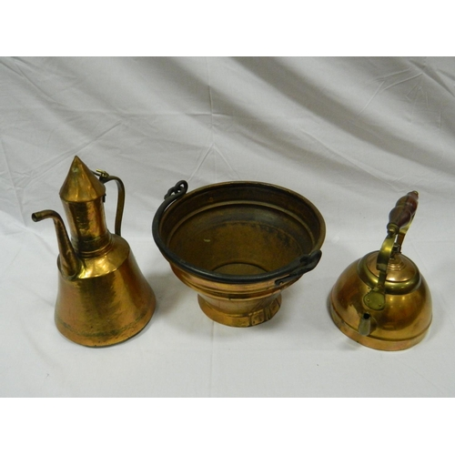 117 - Vintage copper jam pan, kettle and copper coffee pot...
