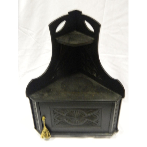 123 - Small 19th century ebonized wall corner cabinet...