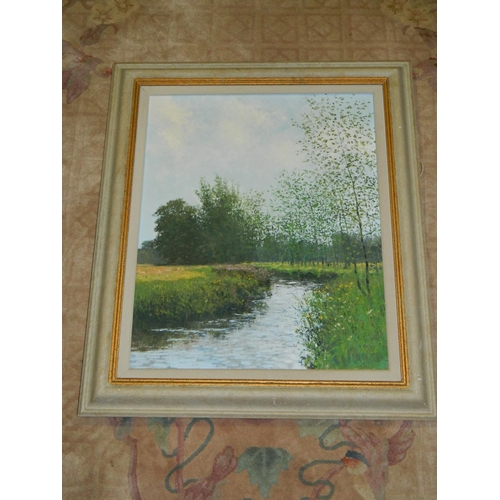 124 - Signed and framed rural riverside scene oil on canvas by Charles Neal (1951-). The artist has a worl...