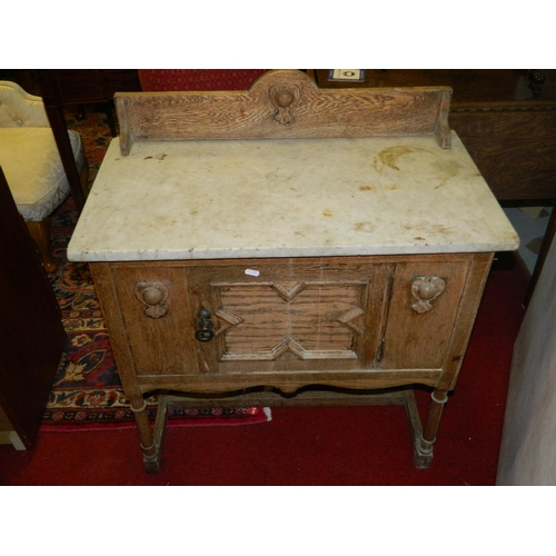 128 - Late Victorian Oak marble topped washstand...