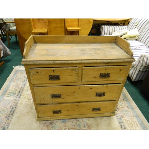 129 - Victorian light pine 2 over 2 chest of drawers...