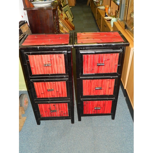 132 - Pair of Japanese bamboo style  3 drawer chest of drawers [43x30x90cm]...