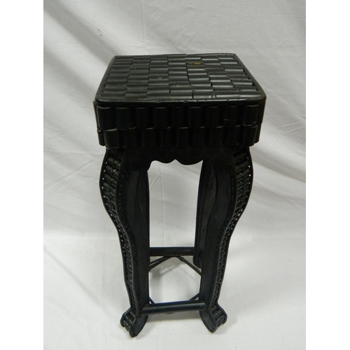 135 - Bamboo style black Japanese side table [60x22cm]...