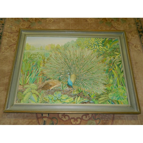 137 - Signed framed oil on canvas, Peacock and Peahen dated 1988 by Alex Williams (1942-). Well known arti...
